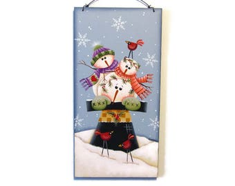 Hat Full of Snowmen Wall Hanging,  Handpainted Wood Sign, Hand Painted Winter Home Decor, Wall Art, Tole Decorative Painting, B2