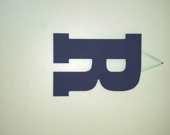 Navy Blue Letter, Hand Painted Letter R, Mint Ribbon, Door Hanger Boy, Boys Room Letter, Playroom Letter, Kids Room Wall Letter