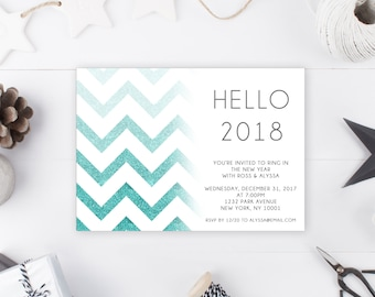 New Years Eve Party Invitation, New Years Invitation, Hello 2018, Ring in the New Year, Printable New Years Party Invitation, New Year [117]