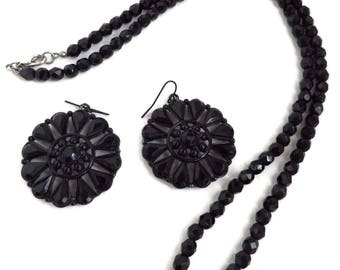 Black Beaded Necklace Earrings - Vintage Jewelry Set