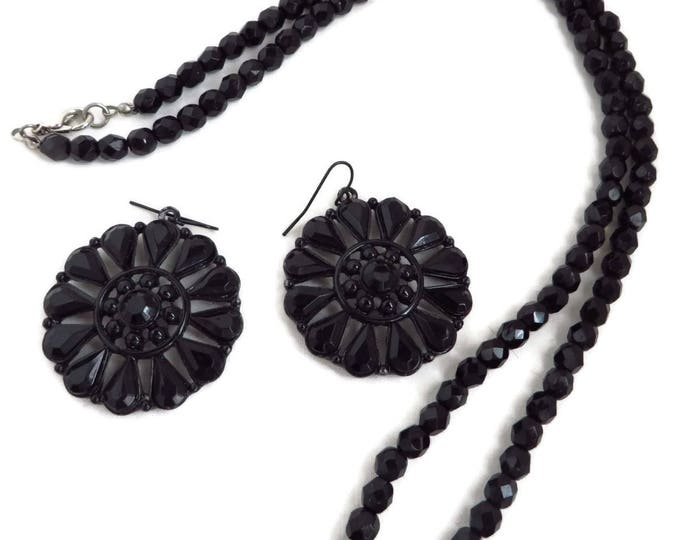 Black Jewelry Set, Beaded Jewelry, Black Bead Necklace, Black Glass Earrings, Dangling Pierced Earrings, Vintage Jewelry Set, Jet Jewelry