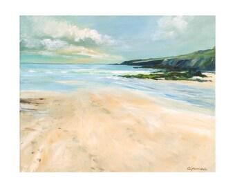 Giclee print, original cornish seascape, Coastal art, beaches, cliffs, made in Cornwall