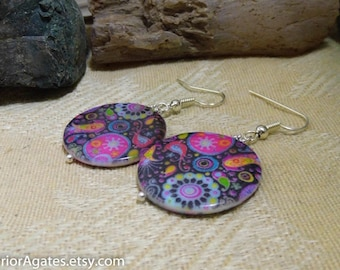 Bright Colorful Print Mother Of Pearl Shell Silver Dangle Earrings