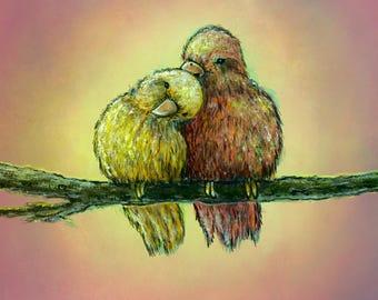 "Lovebirds: Original Acrylic Painting on Studio 12""x12"" Canvas"
