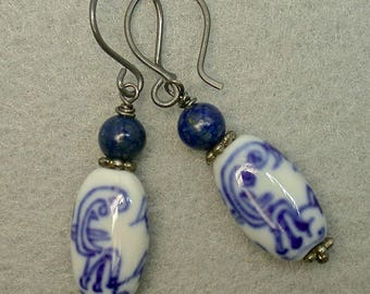 Vintage Chinese Dragon Bead Earrings, Blue White Porcelain ,Vintage Sodalite Bead, Handmade Oxidized Sterling Silver Ear Wires