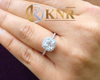 Women's Stunning 14k solid white gold cushion and Round cut diamond engagement ring halo natural diamonds bridal wedding 1.70ctw