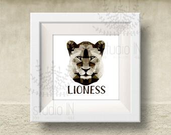 LIONESS Print, lioness Art, Geometric lioness Print, polygon animal, Origami lioness Print, lioness head, Triangle lioness head