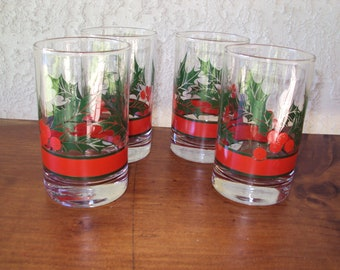 Libbey Holly and Berries Holiday Glasses