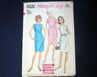 1966 Button-Trimmed Dress Vintage Pattern, Simplicity 6532, Size 14, Bust 34