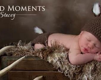Newborn Crochet Deer Hat and Diaper Cover- Baby Hat, Deer hat, Photo Prop
