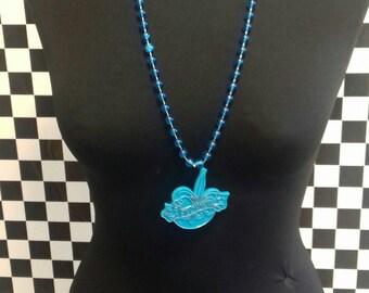 Blue plastic vintage necklace.