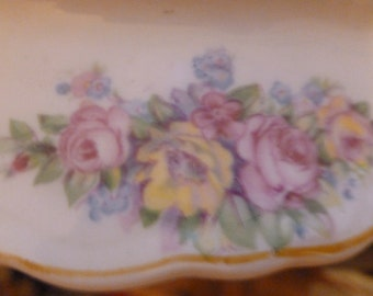 W. S. George Radisson 195B Handled Serving Dish Floral Vintage Dining and Serving Traditional Cottage Chic
