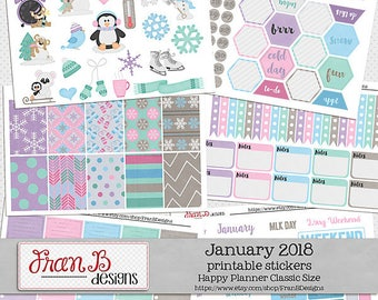 January 2018 Printable Planner Stickers