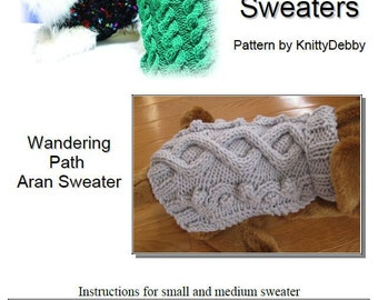 Dog Sweater Knitting pattern PDF - Wandering Path Aran cable design