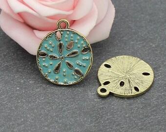 x 2 blue enamel circle green 23 x 20 mm BD41 charms
