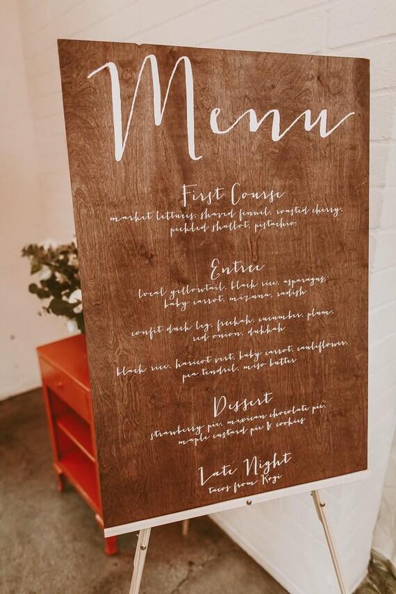 Wedding Menu Sign Wedding Dinner Menu Menu Board Wood Menu
