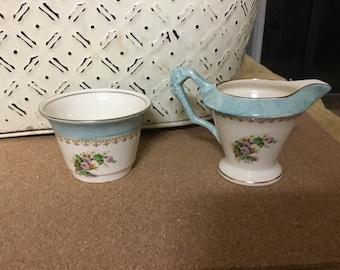 Antique James Kent cream and sugar blue floraL