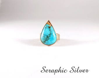 Teardrop Turquoise copper ring