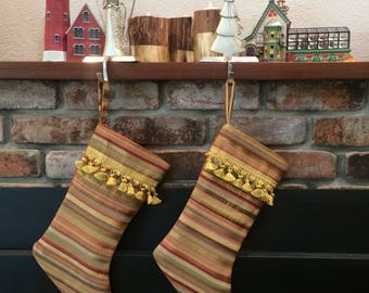 Luxe stripe Christmas stocking