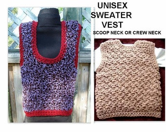 CROCHET PATTERN, Sweater Vest, Age 1 to Adult, NUM 468,  toddler, unisex, crew neck or scoop neck, pebble stitch, ok to sell them
