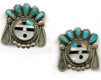 Vintage Zuni Sun Face silver, turquoise and inlaid earrings. (ervs841cn)