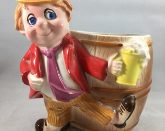 Vintage 1970s Inarco Beer Barrel and Drinking Man Ceramic Planter