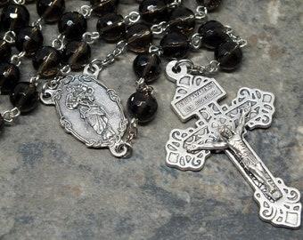 Gemstone Rosary of Smoky Quartz, 5 Decade Rosary, Men's Rosary, Our Lady Untier of Knots, Pardon Crucifix, Catholic Rosary