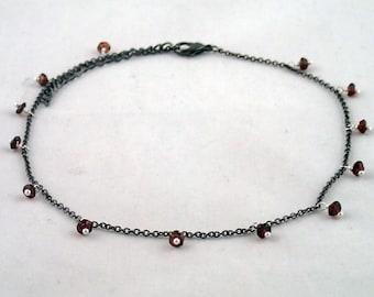 "Teardrop Necklace in Garnet - 14.5"" gunmetal and garnet necklace"
