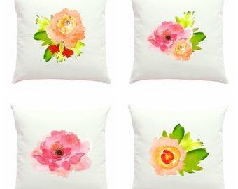 Floral Pillow Cover, Watercolor Pillows, Nature Pillow, Colorful Pillow, Pastel Throw Pillow, Abstract Art Pillow, 16x16 Zippered Pillow