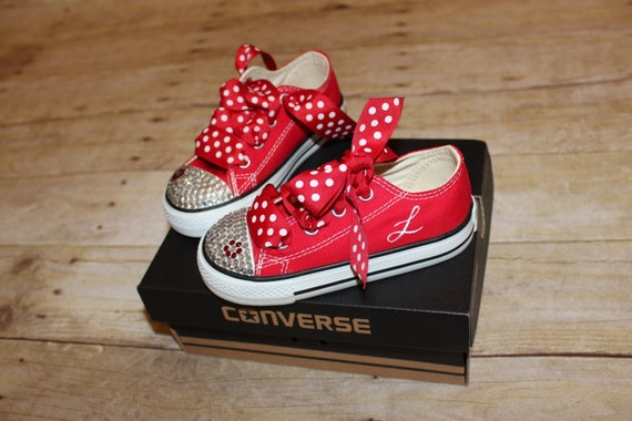 Red black white Minnie Mouse flower bow bling rhinestone converse toddler  shoes 5 6 7 8 9