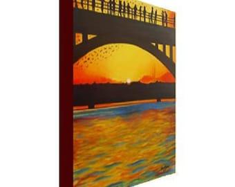 Austin Bridge and Bats Canvas Print