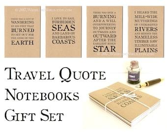 Travel Quote Notebooks Gift Set, Kraft Travel Journals | Travel Quotations, Travel Gift, Graduation Gift | Ruled A6 TN Traveler Notebook Set