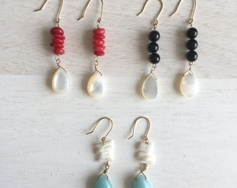 Makana Makana, Coral/onyx/Amazonaite Earrings
