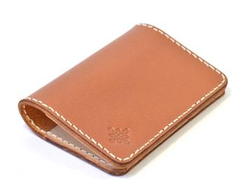Brown Vegetable Tanned Leather Bi Fold Card  Wallet Handmade