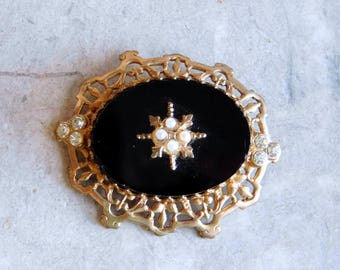 Vintage Victorian Style Faux Onyx and Brass Ornate Brooch - Large Oval Filigree Pin w/ Rhinestones, Faux Pearls - Mourning Jewelry - 1930s