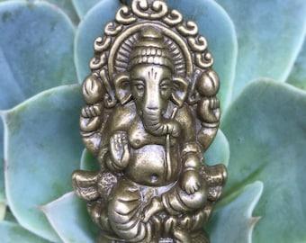 Antique Bronze Hindu Elephant God Ganesha Charm Pendant Necklace - Spiritual Jewelry - Bronze Colored Boho Jewelry