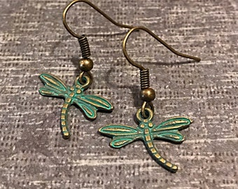 Patina Dragonfly Earrings, Verdigris Dragonfly Jewelry, Dragonfly Earrings, Patina Jewelry, Verdigris Charms