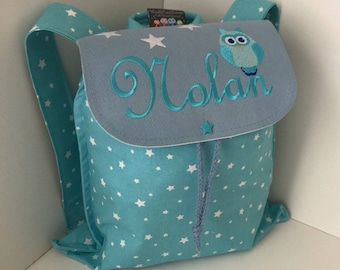 Bag child backpack, baby, nursery, kindergarten, personalized with name, owls, turquoise