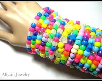 Kandi Bracelets, Singles, Neon, Rainbow, Rave Jewelry