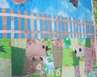 Baby Quilt Handmade Funny Little Sheep