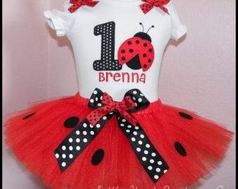 Super Cute Lady Bug tutu Birthday outfit Personalized with name