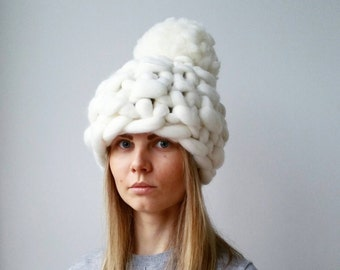 Winter Hat White Christmas Chunky Knit PomPom