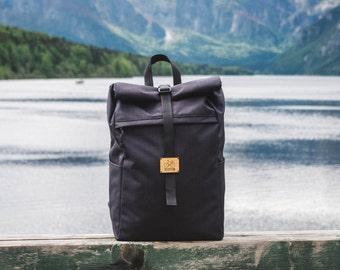 Roll top backpack, Black backpack, Laptop backpack, Travel Rucksack, Waterproof backpack, Commuter Backpack, Mens backpack