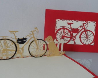 Dog & Bicycle Pop up Card Birthday-Miss You-Retirement -Blank (sku147)