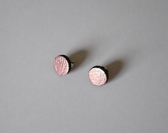 Pink summer earrings, Metallic stud earrings, Geometric studs, Flashy earrings, Leather gift, festival earrings, Beach jewelry for wife
