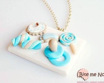 Mini Food Baby Boy Candies Necklace, Miniature Food Jewelry, Polymer Clay Sweets, Food Jewelry,Newborn Baby Gift, Kawaii Jewelry