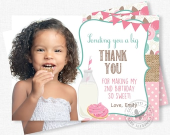 Milk and Cookies Thank You, Photo Thank You Cards, Cookie Party Thank You Notes, Girl Birthday Thank You, Personalized