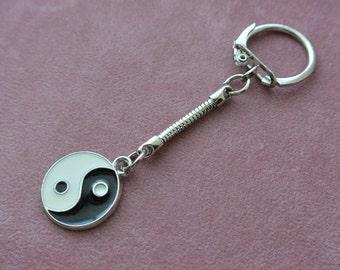 Yin Yang Key Ring, Yin Yang Key chain, Silver Keyring, Enamel Charm Key Chain,  Gift For Her