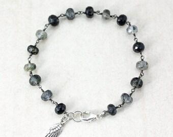 Black Rutile Quartz Bracelet - Angel Wing Charm - Whimsical Bracelet