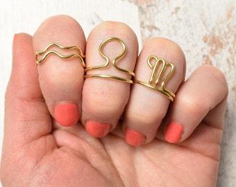 Zodiac Ring, Thumb or Midi Knuckle Ring, Aquarius Ring, Libra Ring, Scorpion Ring, adjustable brass Zodiac Aquarius, Libra, Scorpion Ring
